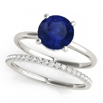 Blue Sapphire & Diamond Solitaire Bridal Set 14k White Gold (1.20ct)