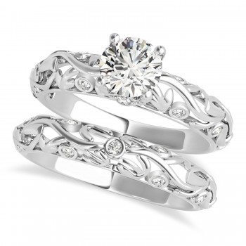 Diamond Antique Style Bridal Set 14k White Gold (0.68ct)
