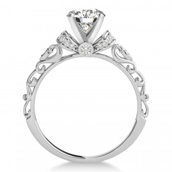 Diamond Antique Style Engagement Ring 14k White Gold (0.87ct)