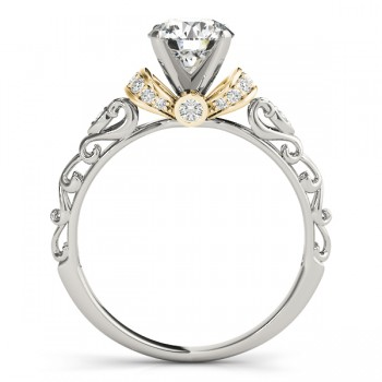 Diamond Antique Style Engagement Ring Setting 14k Two-Tone Gold (0.12ct)