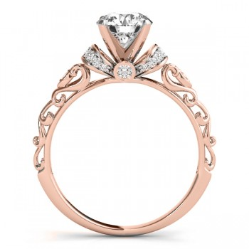 Diamond Antique Style Engagement Ring Setting 18k Rose Gold (0.12ct)