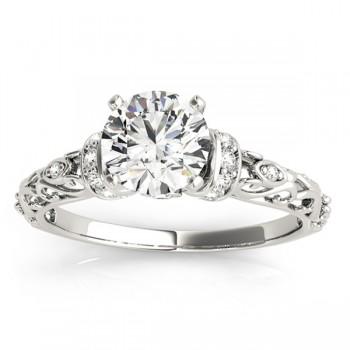 Diamond Antique Style Engagement Ring Setting 18k White Gold (0.12ct)