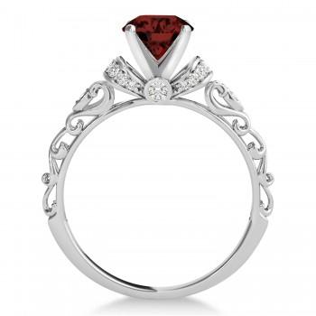 Garnet & Diamond Antique Style Engagement Ring 14k White Gold (0.87ct)