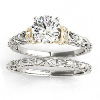 Diamond Antique Style Bridal Set Setting 14k Two-Tone Gold (0.12ct)