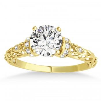 Diamond Antique Style Bridal Set Setting 14k Yellow Gold (0.12ct)