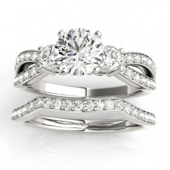 Diamond Three Stone Split Shank Bridal Set 14k White Gold (0.89ct)