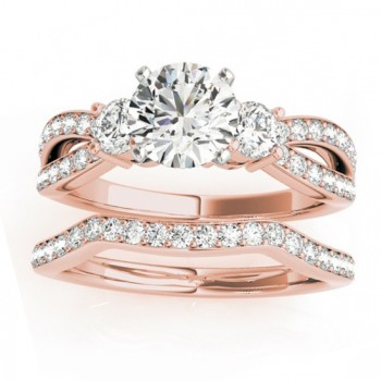 Diamond Three Stone Split Shank Bridal Set 18k Rose Gold (0.89ct)