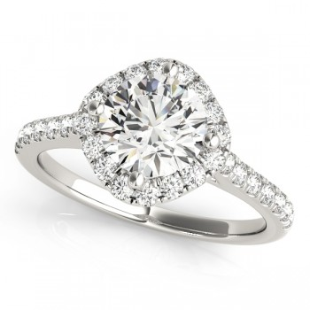 Diamond East West Halo Engagement Ring 14k White Gold (0.96ct)