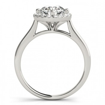 Diagonal Diamond Halo East West Engagement Ring 14k White Gold 1.16ct
