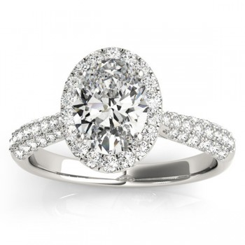 Oval-Cut Halo Pave Diamond Engagement Ring Setting 14k White Gold (0.34t)