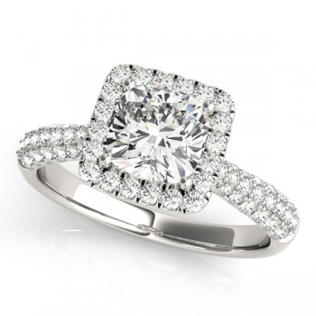 Cushion Cut Diamond Halo Engagement Ring 14k White Gold (2.33ct)