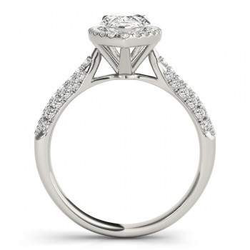 Pear-Cut Halo pave' Diamond Engagement Ring 14k White Gold (2.38ct)