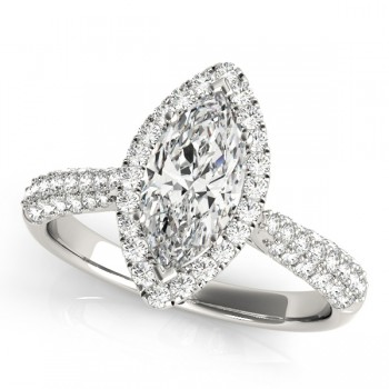 Diamond Marquise Halo Engagement Ring 14k White Gold (2.00ct)