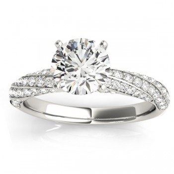 Diamond Twisted Pave Three-Row Engagement Ring 14k White Gold (0.52ct)