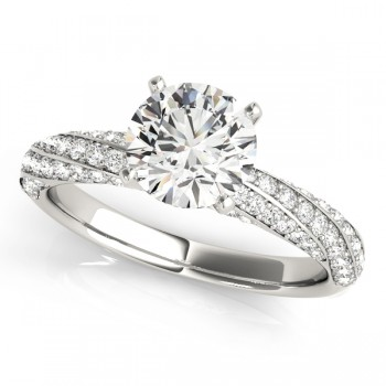 Diamond Twisted Pave Three-Row Bridal Set 14k White Gold (1.11ct)