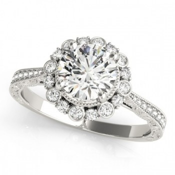 Diamond Flower Bezel Halo Vintage Bridal Set 14k White Gold (1.21ct)