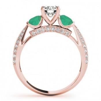 Diamond & Emerald 3 Stone Engagement Ring Setting 14k Rose Gold (0.66ct)