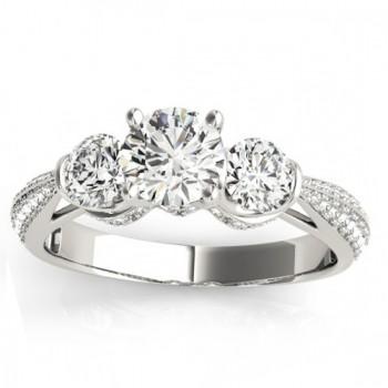Diamond 3 Stone Engagement Ring Setting Platinum (0.66ct)