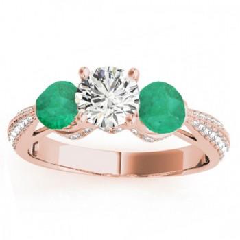 Diamond & Emerald 3 Stone Bridal Set Setting 14k Rose Gold (1.04ct)