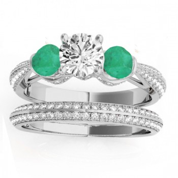 Diamond & Emerald 3 Stone Bridal Set Setting 14k White Gold (1.04ct)