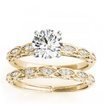 Elegant Diamond Bridal Set Setting 18k Yellow Gold (0.33ct)