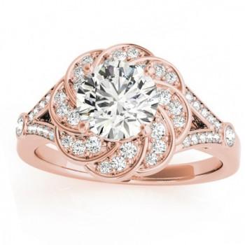Diamond Floral Split Shank Engagement Ring Setting 18k Rose Gold (0.25ct)