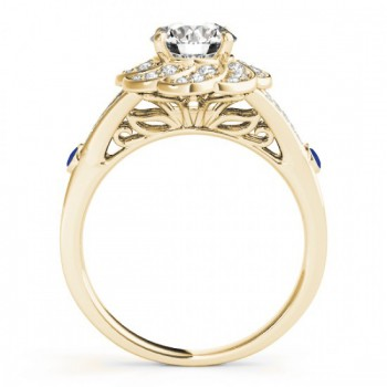 Diamond & Blue Sapphire Floral Engagement Ring Setting 18k Yellow Gold (0.25ct)