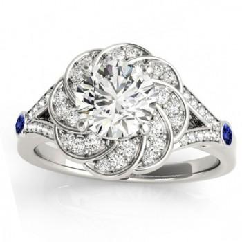 Diamond & Tanzanite Floral Engagement Ring Setting 14k White Gold (0.25ct)