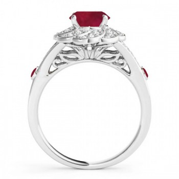 Diamond & Ruby Floral Swirl Engagement Ring 14k White Gold (1.25ct)