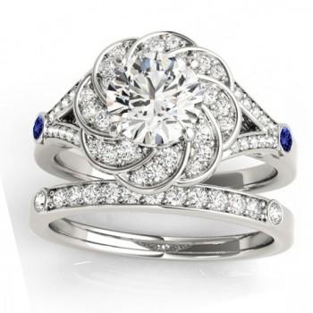 Diamond & Tanzanite Floral Bridal Set Setting 14k White Gold (0.35ct)