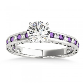 Amethyst & Diamond Channel Set Engagement Ring 14k White Gold (0.42ct)