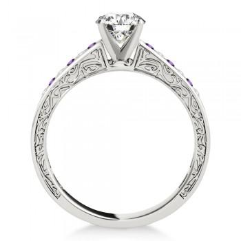 Amethyst & Diamond Channel Set Engagement Ring 14k White Gold (0.42ct)