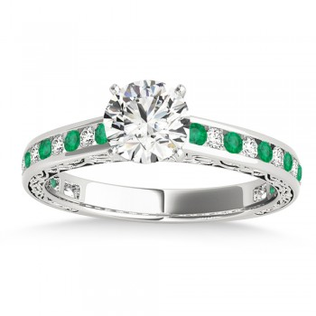 Emerald & Diamond Channel Set Engagement Ring 18k White Gold (0.42ct)