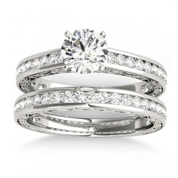Diamond Twisted  Bridal Set 14k White Gold (0.87ct)
