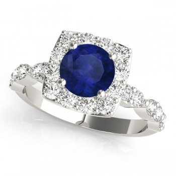 Diamond & Blue Sapphire Square Halo Bridal Set 14k White Gold (2.14ct)