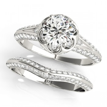 Diamond Floral Style Halo Bridal Set 14k White Gold (0.95ct)