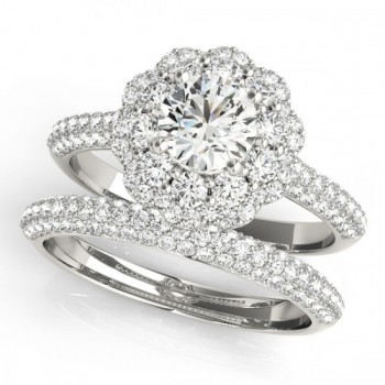 Diamond Floral Style Halo Bridal Set 14k White Gold (1.91ct)