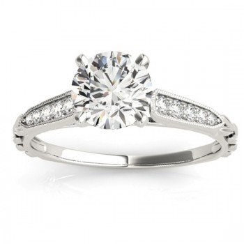 Diamond Accented Textured Bridal Set Setting 14K White Gold (0.21ct)