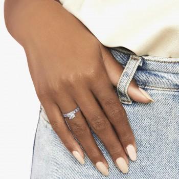 Alternating Diamond & Amethyst Engravable Engagement Ring in 14k White Gold (0.45ct)
