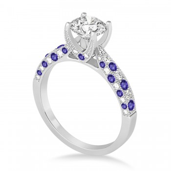 Alternating Diamond & Tanzanite Engravable Engagement Ring in 14k White Gold (0.45ct)