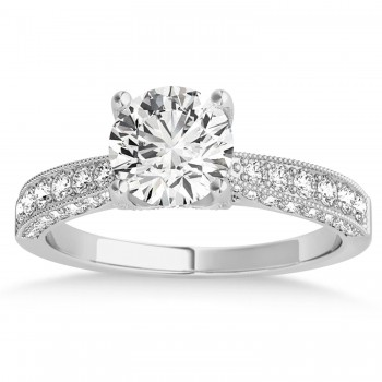 Diamond Engravable Engagement Ring in 14k White Gold (0.45ct)