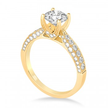 Diamond Engravable Engagement Ring in 14k Yellow Gold (0.45ct)