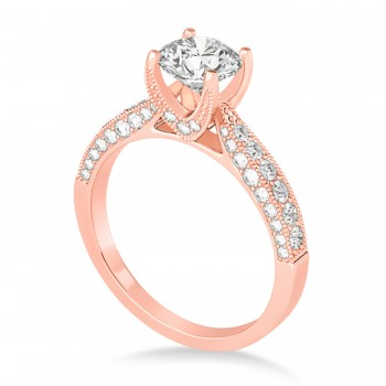 Diamond Engravable Engagement Ring in 18k Rose Gold (0.45ct)