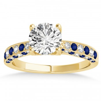 Alternating Diamond & Blue Sapphire Engravable Engagement Ring in 18k Yellow Gold (0.45ct)
