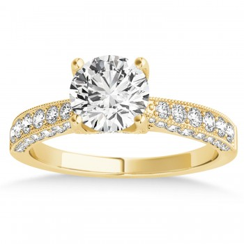 Diamond Engravable Engagement Ring in 18k Yellow Gold (0.45ct)