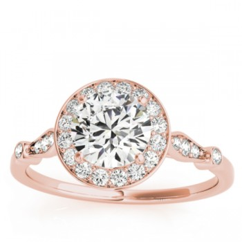 Halo Diamond Accented Engagement Ring with Vintage Flair 14k Rose Gold (0.17ct)