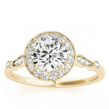 Halo Diamond Accented Engagement Ring with Vintage Flair 14k Yellow Gold (0.17ct)