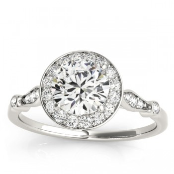 Halo Diamond Accented Engagement Ring with Vintage Flair 18k White Gold (0.17ct)