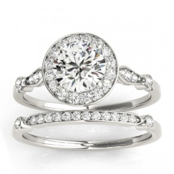 Halo Diamond Accented Bridal Set Setting 14k White Gold (0.25ct)