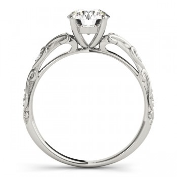 Diamond Antique Style Engagement Ring 14k White Gold (0.03ct)